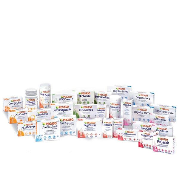 Immagine dei prodotti della linea Pegaso: AxiMagnesio, Candinorm, PegaStress, FITODrena, RegoBasic, EnziTime, e molti altri.
